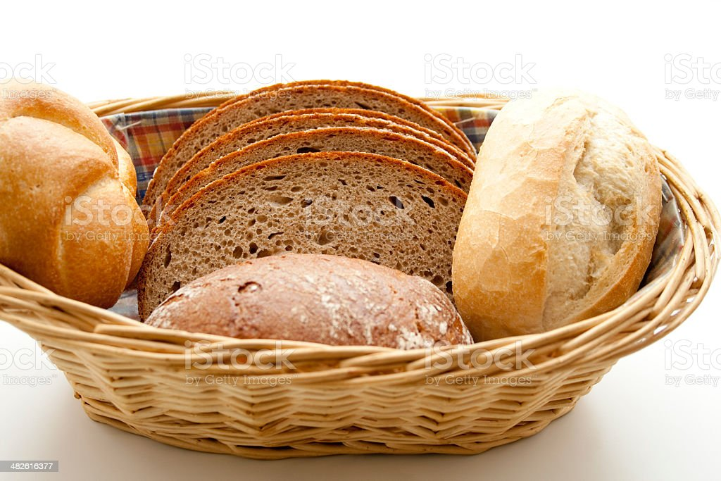 Fresh crust bread in the basket stock photo