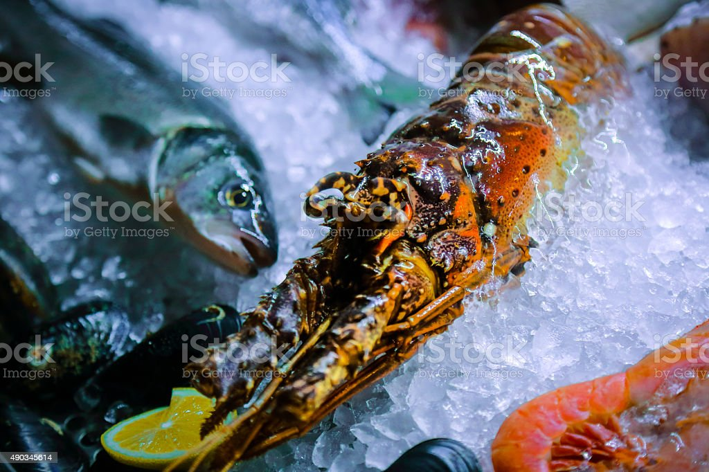 Fresh crustacean and fish on ice stock photo