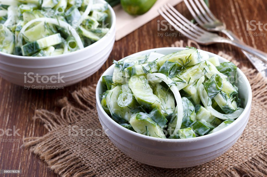 Fresh cucumber and dill salad stock photo