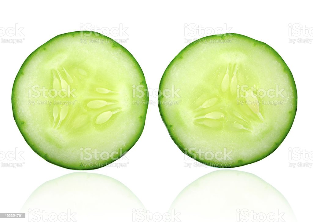 Fresh cucumber slice isolated on white background stock photo