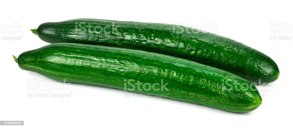 fresh cucumbers  isolated on white stock photo