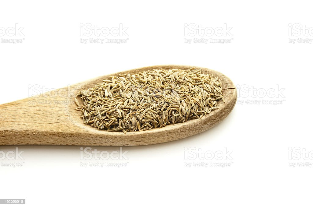 Fresh Cumin on wooden Cooking Spoon stock photo