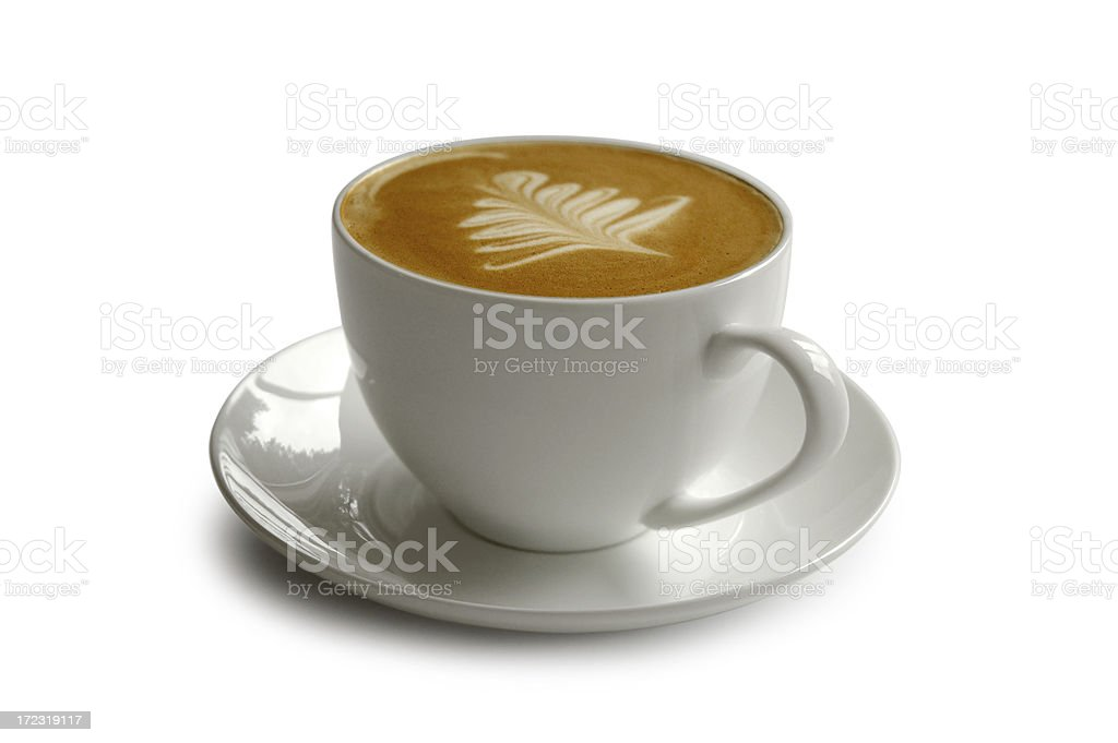 Fresh cup of coffee with clipping path stock photo