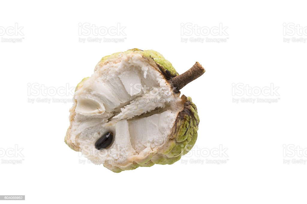 Fresh Custard Apple with leaf isolated on white background stock photo
