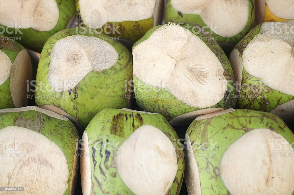 Fresh Cut Green Coconuts Stacked Full Frame stock photo