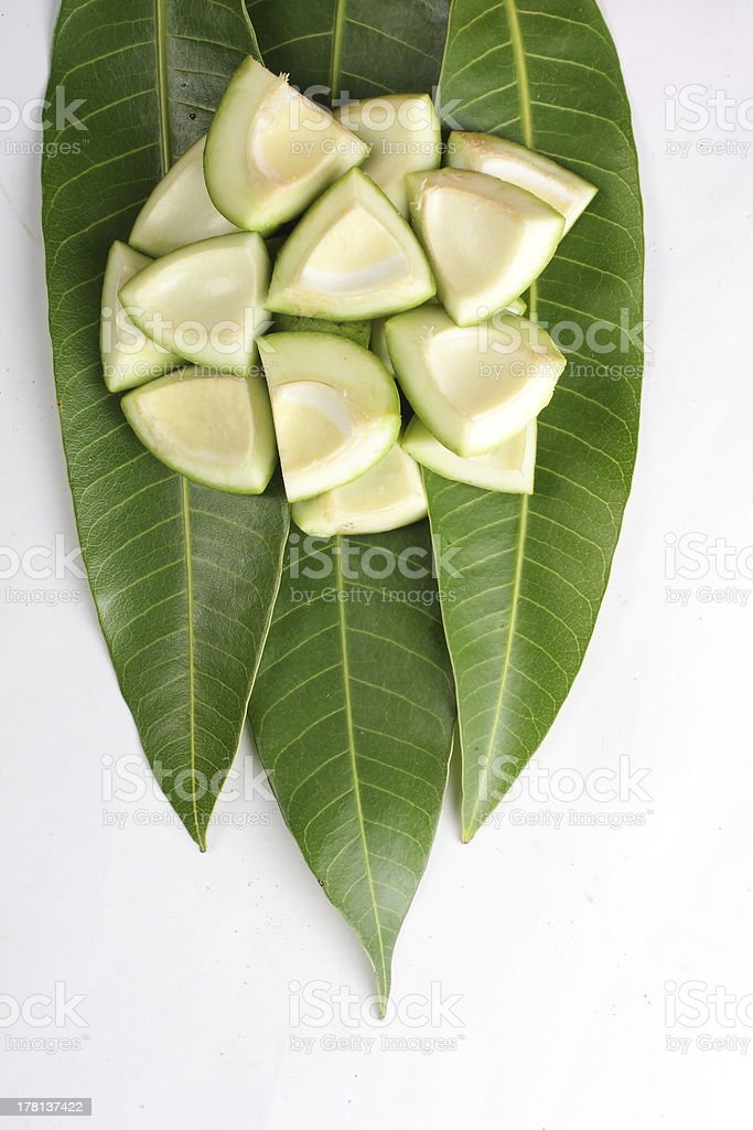 Fresh cut mango stock photo