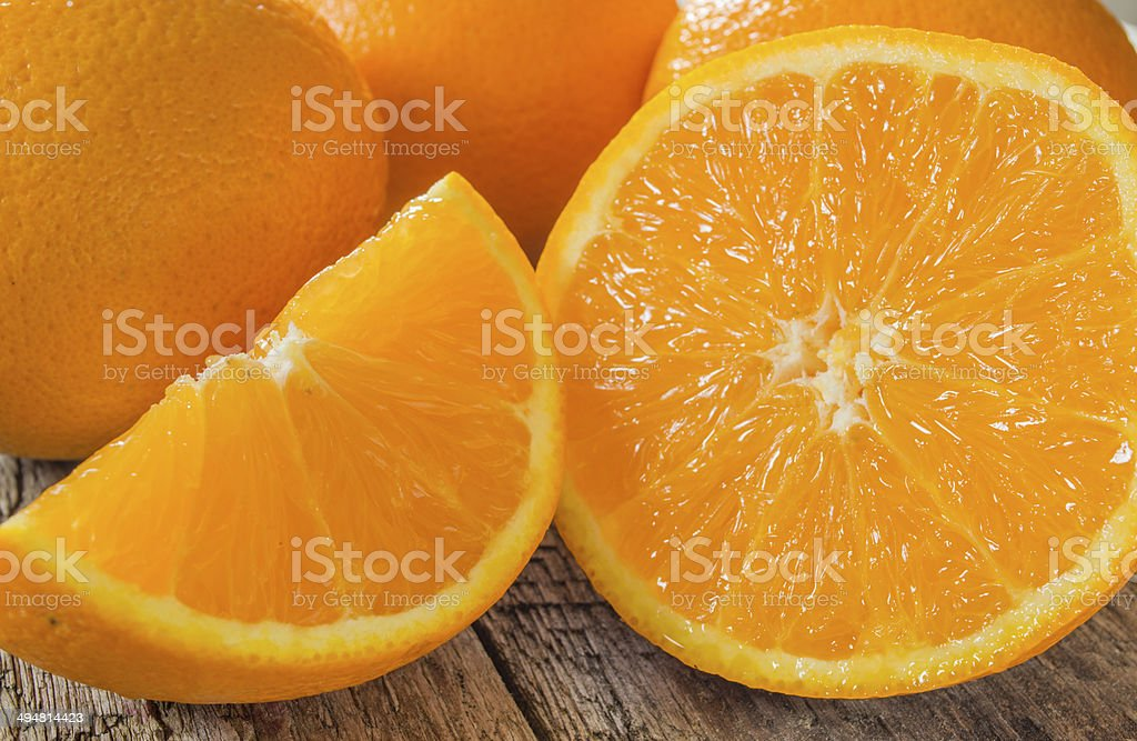 fresh cut oranges stock photo