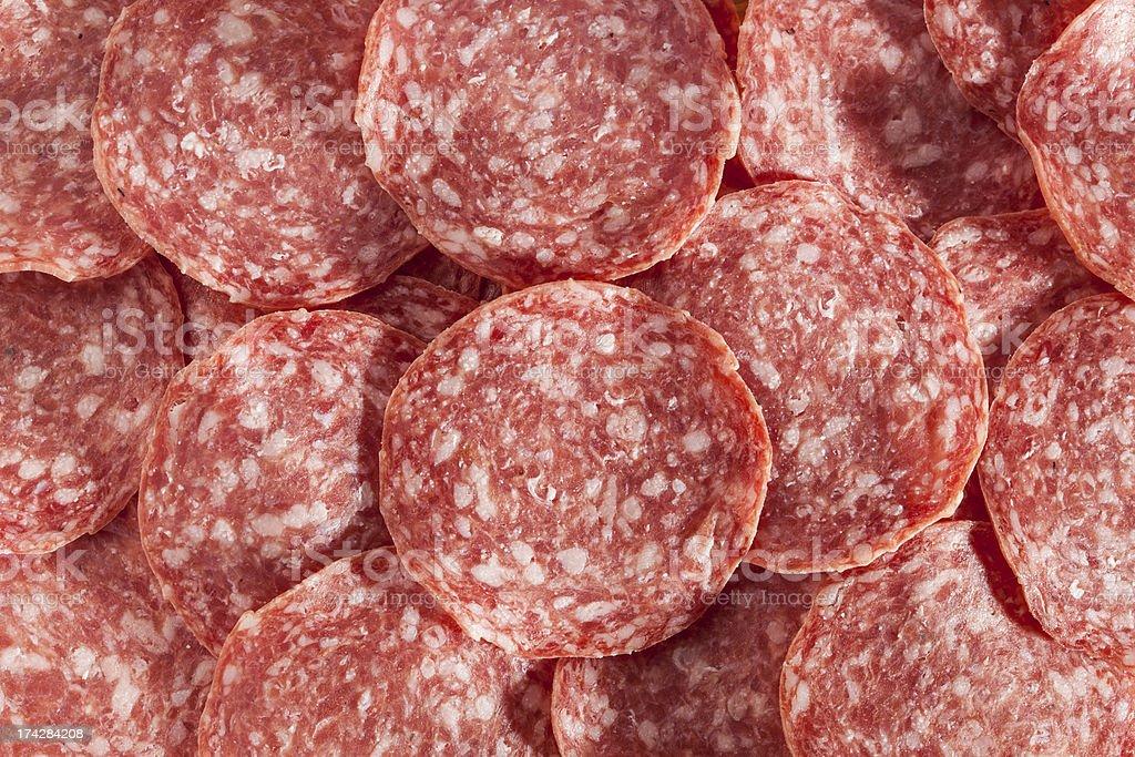 Fresh Cut Organic Salami stock photo