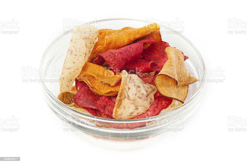 Fresh Cut Organic Vegetable Chips royalty-free stock photo