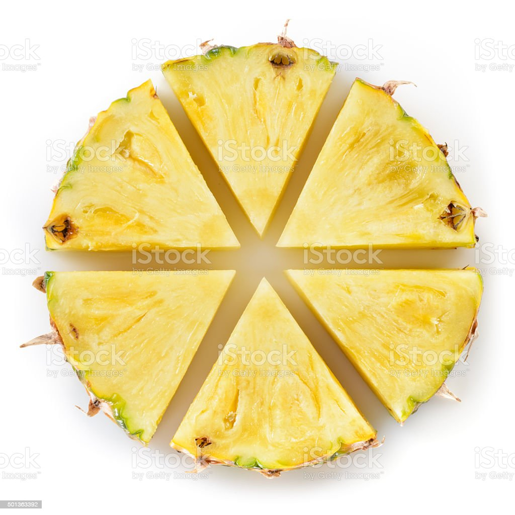 Fresh cut pineapple isolated on white background. stock photo