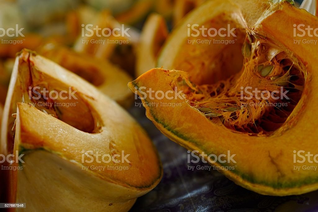 Fresh Cut Raw Pumpkin stock photo
