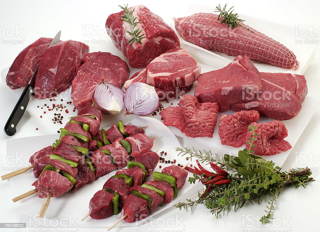 Fresh cuts of meat stock photo