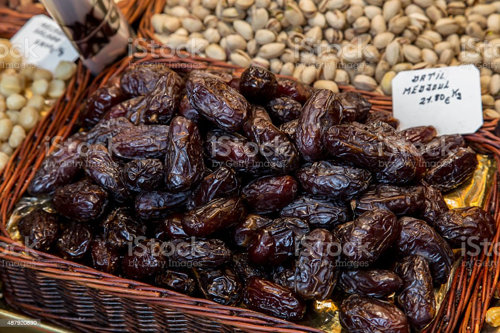 Fresh dates in a market, healthy lifestyle food, fruit stock photo