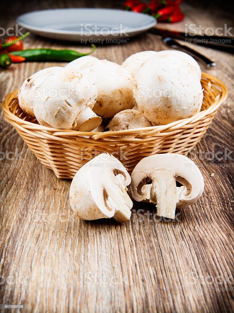 Fresh delicious champignons stock photo