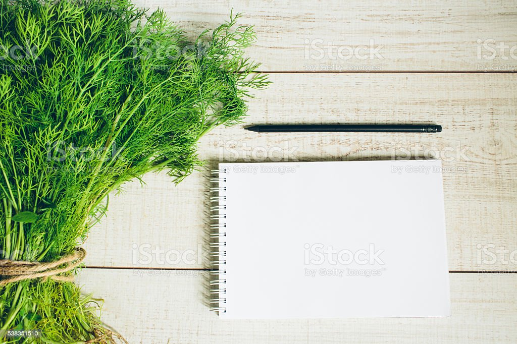 Fresh dill on the table. stock photo