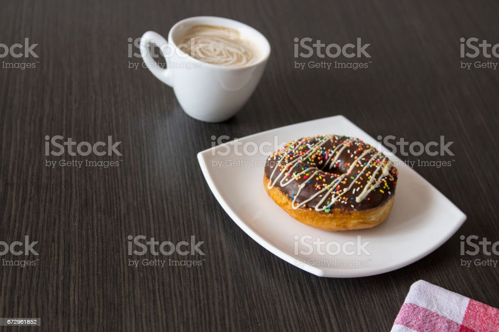 fresh donut with coffee stock photo