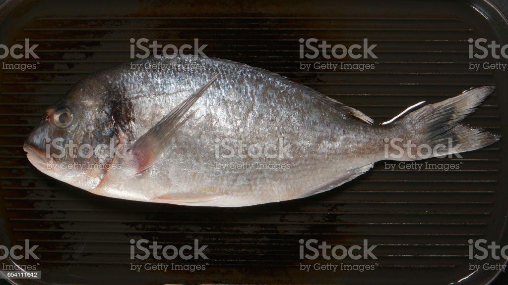 TOP VIEW: Fresh Dorade fish on a pan stock photo