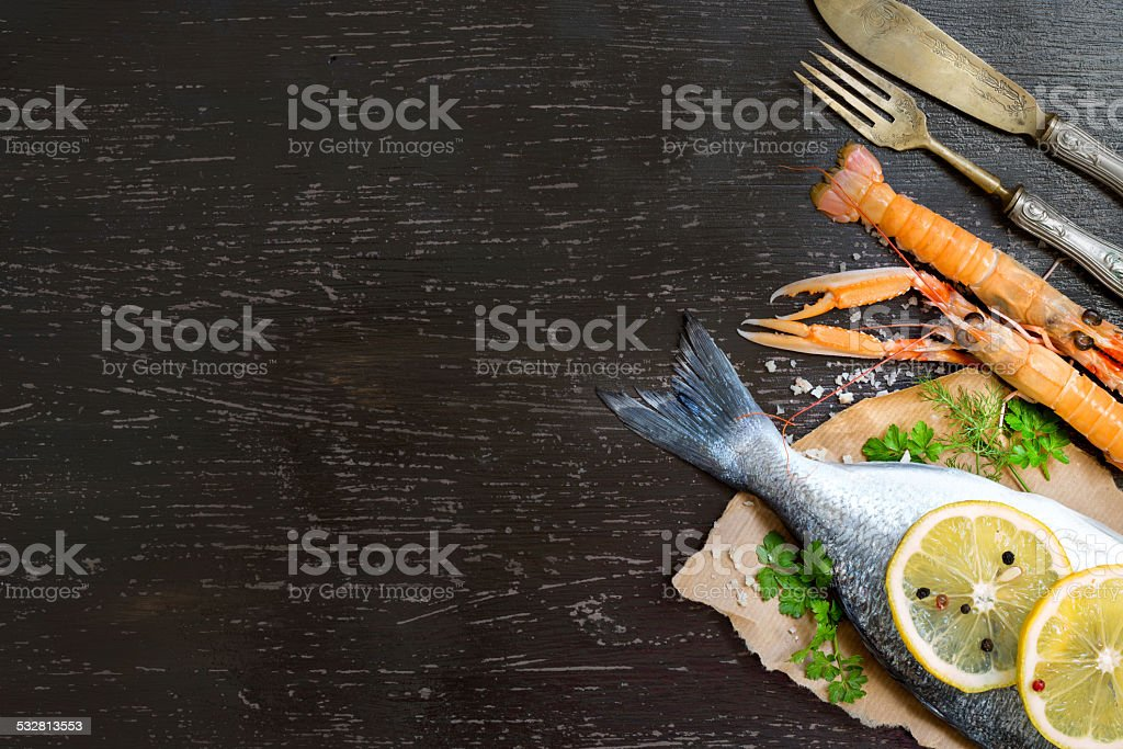 Fresh dorado fish and seafood stock photo