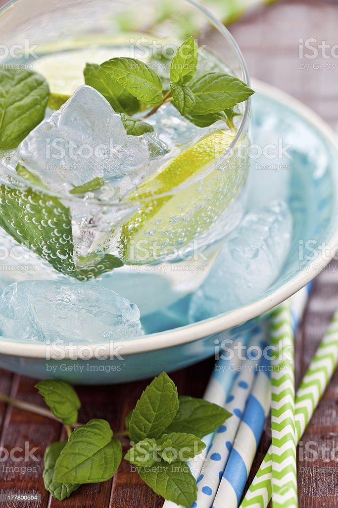 Fresh drink with lemon and ice royalty-free stock photo