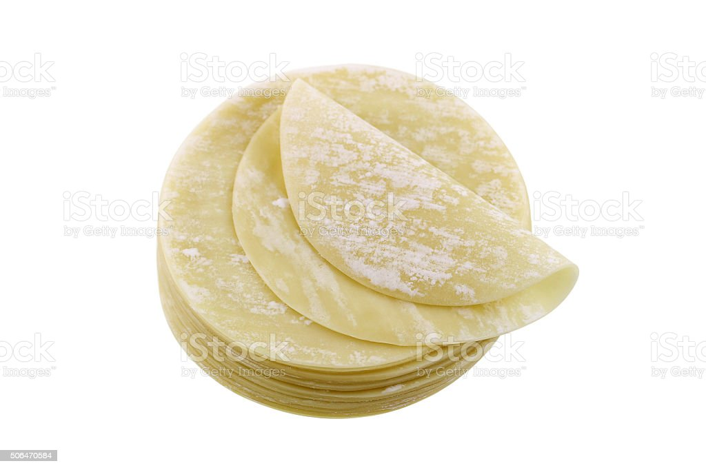 Fresh dumpling wrappers to make wontons and other Chinese food stock photo