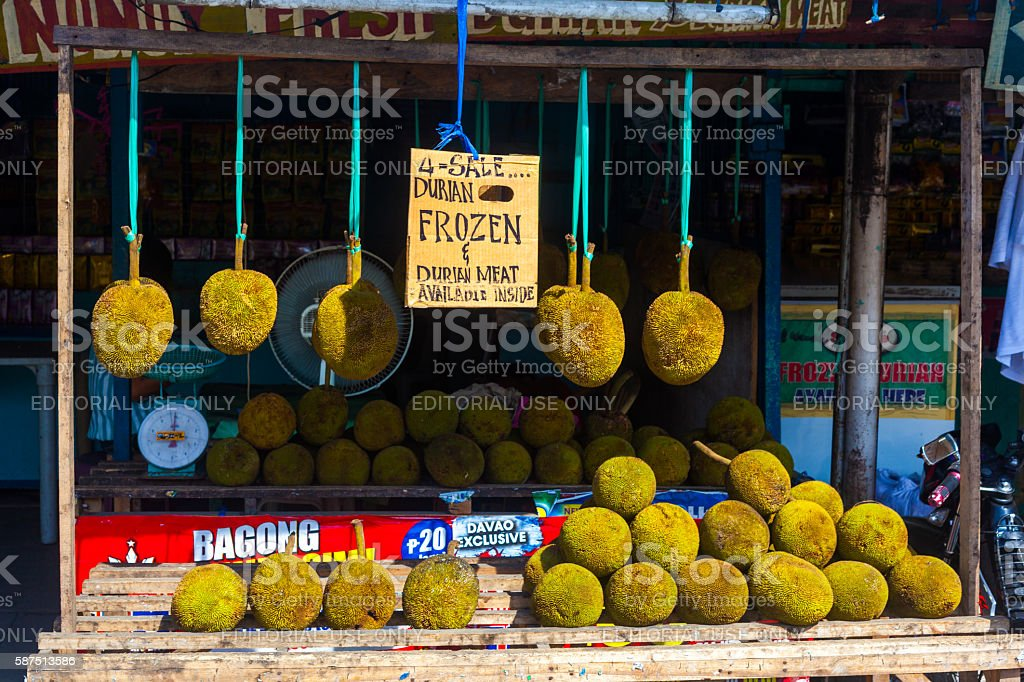 Fresh Durian in Davao, Philippines stock photo