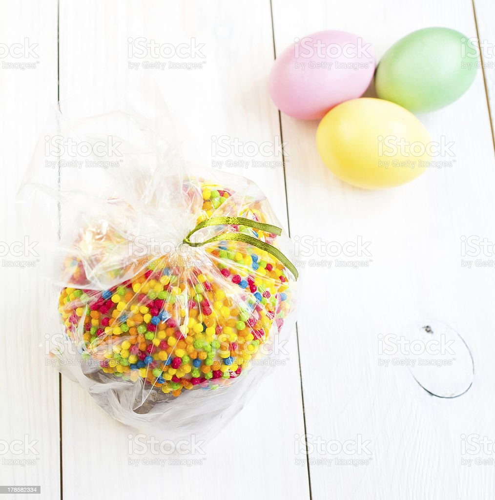 Fresh Easter cake and eggs on white royalty-free stock photo