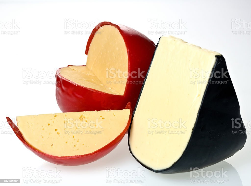 Fresh Edam Yellow and White Cheeses stock photo