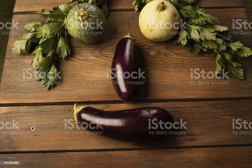 Fresh eggplant and zucchini royalty-free stock photo
