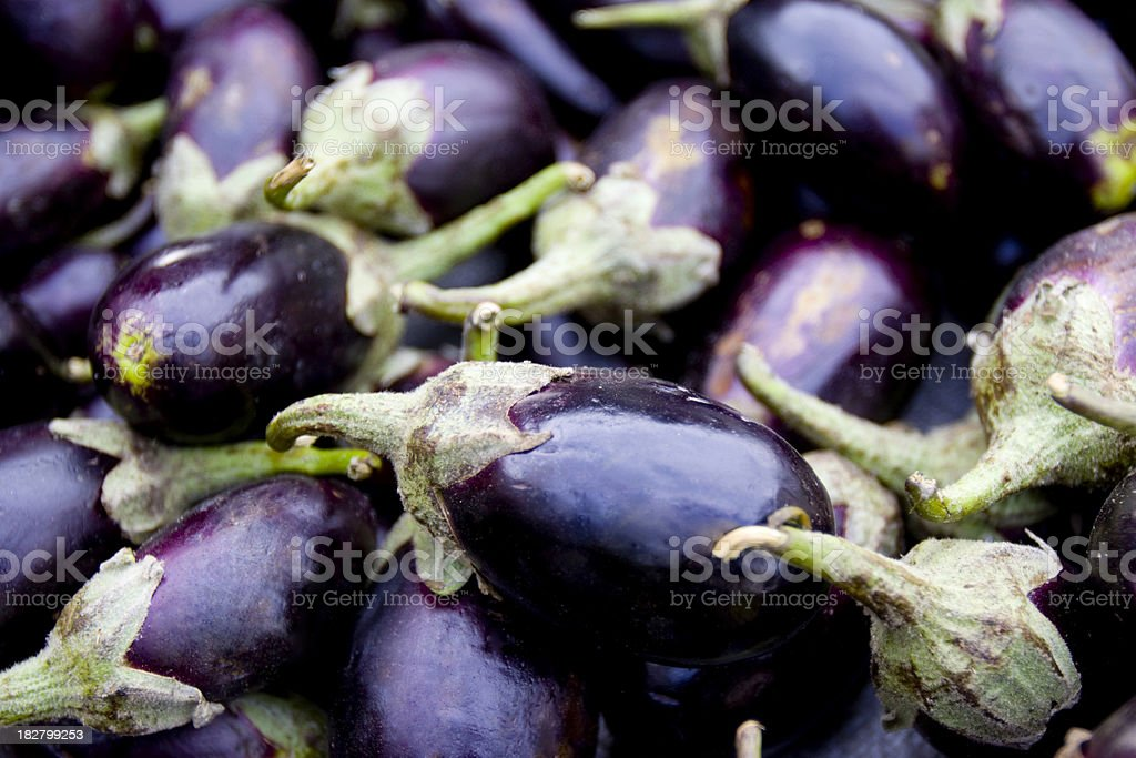 Fresh Eggplant At Farmers Market royalty-free stock photo