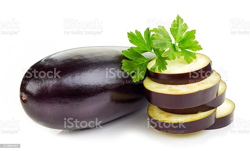fresh eggplant on white background stock photo