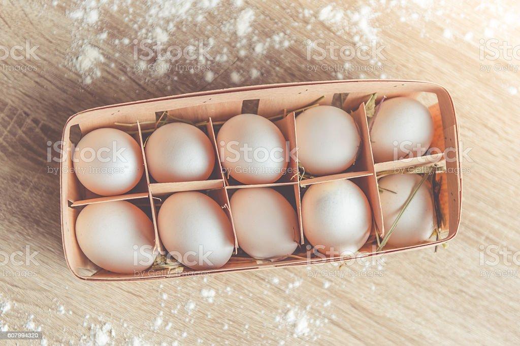 Fresh eggs for baking stock photo
