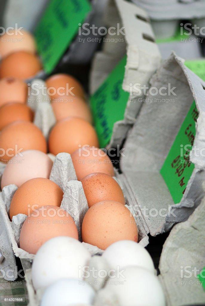 Fresh eggs in street market stock photo