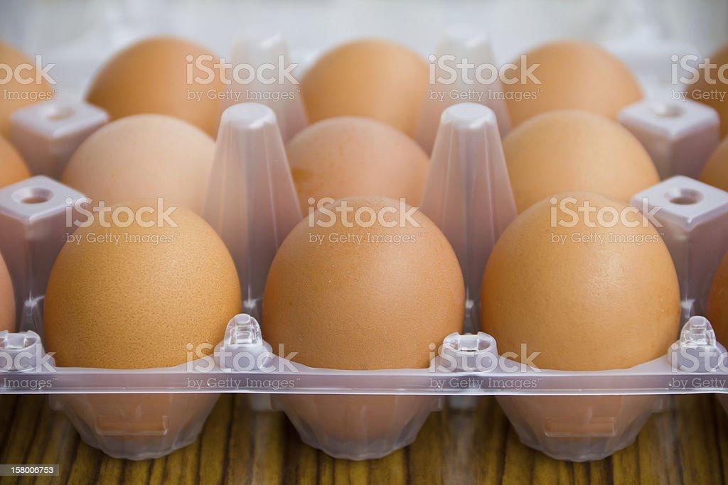 Fresh eggs in tray royalty-free stock photo