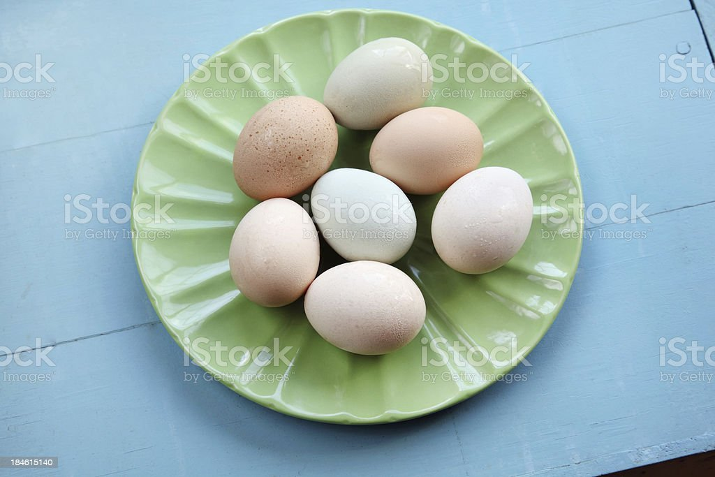 Fresh Eggs on Green Plate stock photo