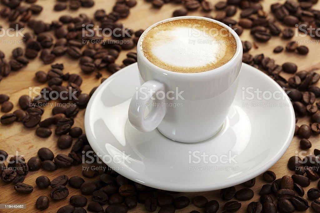Fresh espresso macchiato stock photo