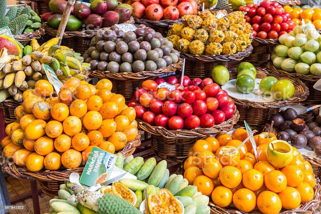 Fresh exotic fruits in Mercado Dos Lavradores. Funchal, Madeira stock photo