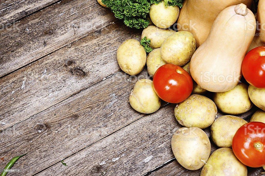 Fresh fall produce on weathered wood royalty-free stock photo