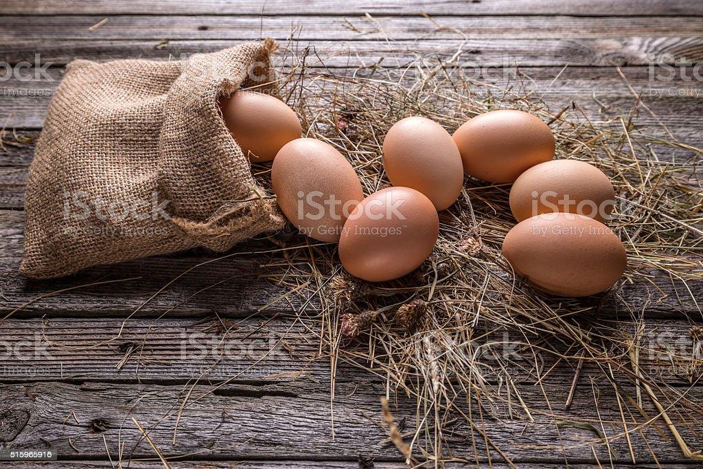Fresh farm eggs stock photo