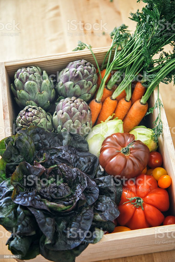Fresh farm vegetables in a crate stock photo