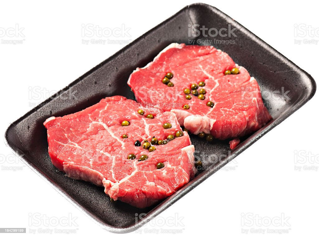 Fresh fillet of beef with green pepper royalty-free stock photo