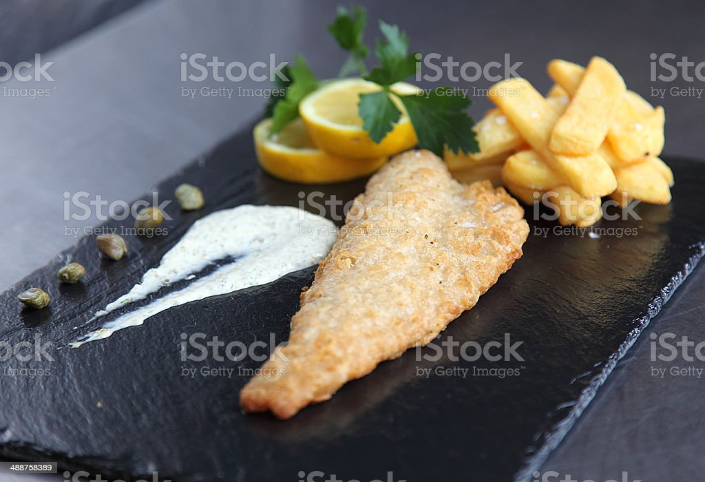 Fresh fish and chips royalty-free stock photo