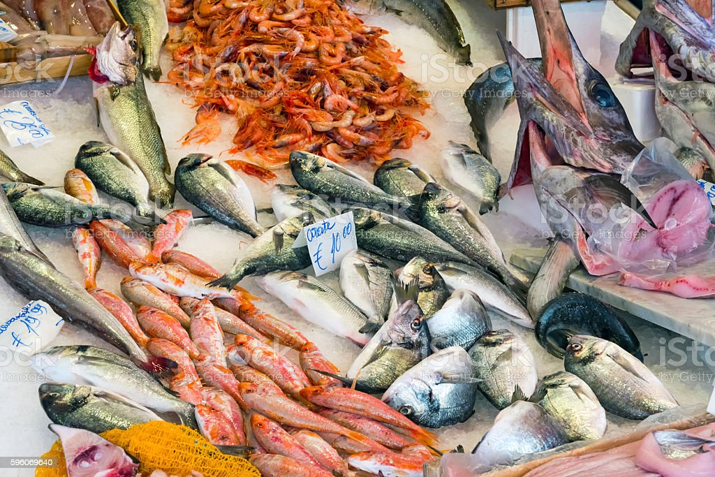 Fresh fish and seafood at a market stock photo