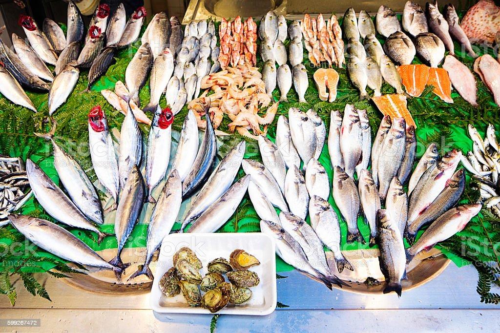 Fresh fish and shellfish on display at Istanbul street market stock photo