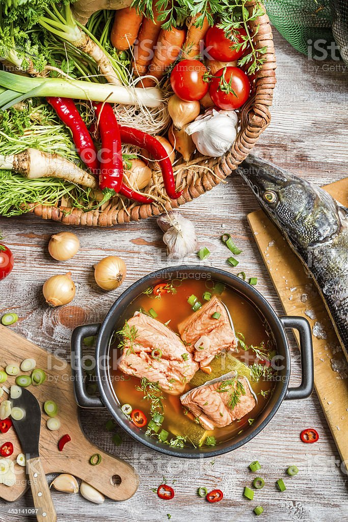 Fresh fish and vegetables for a healthy soup stock photo