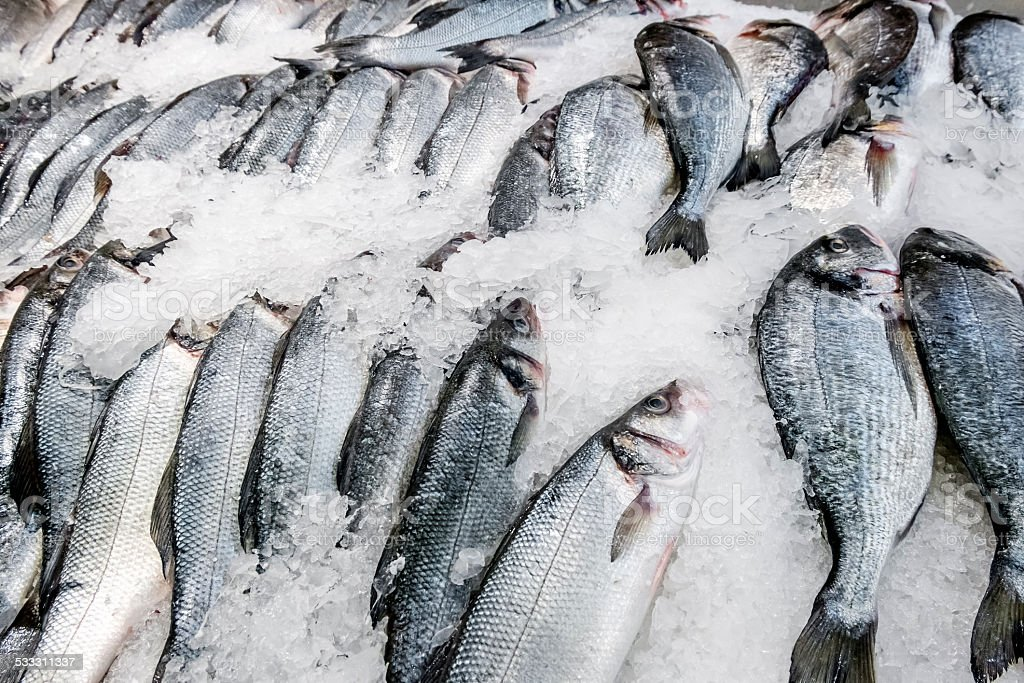 Fresh fish carcasses lie on ice crumbs stock photo