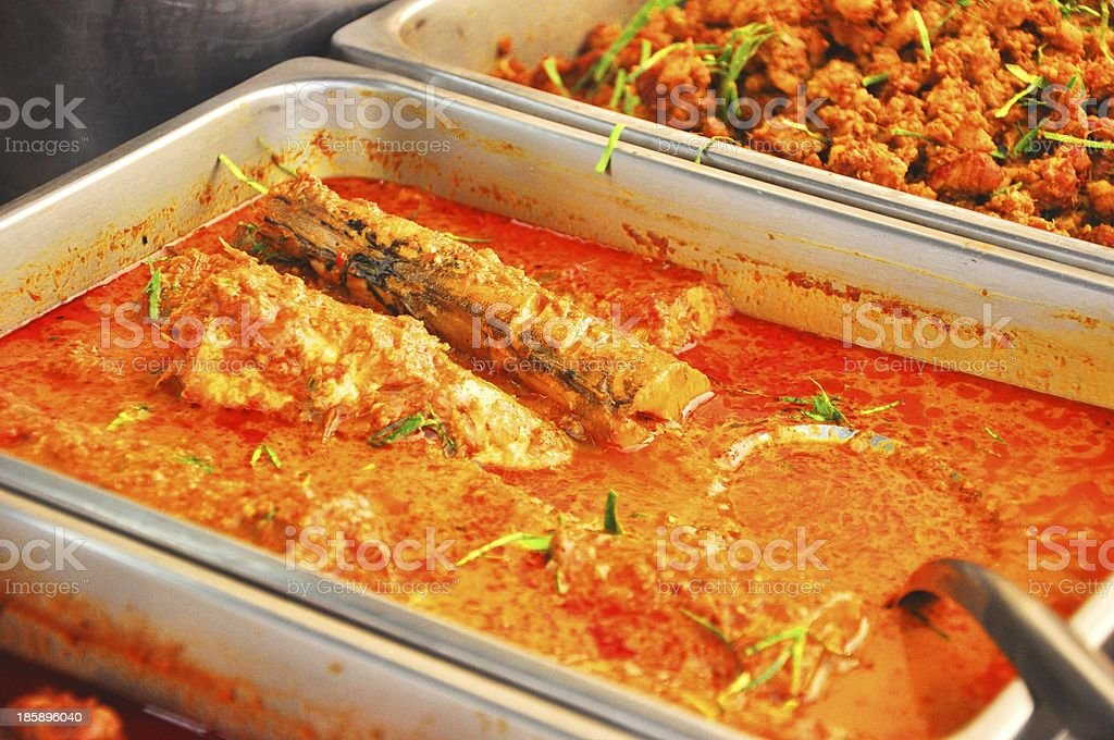 fresh fish curry at street market  in Thailand royalty-free stock photo