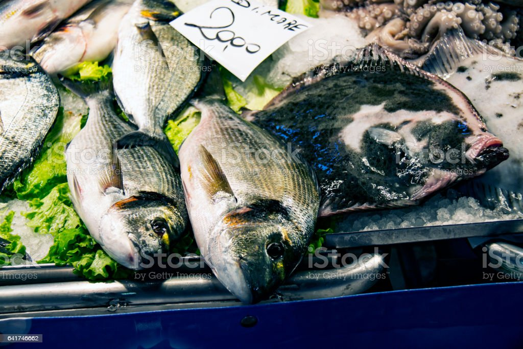 Fresh fish for sale at  Fish Market in Italy stock photo