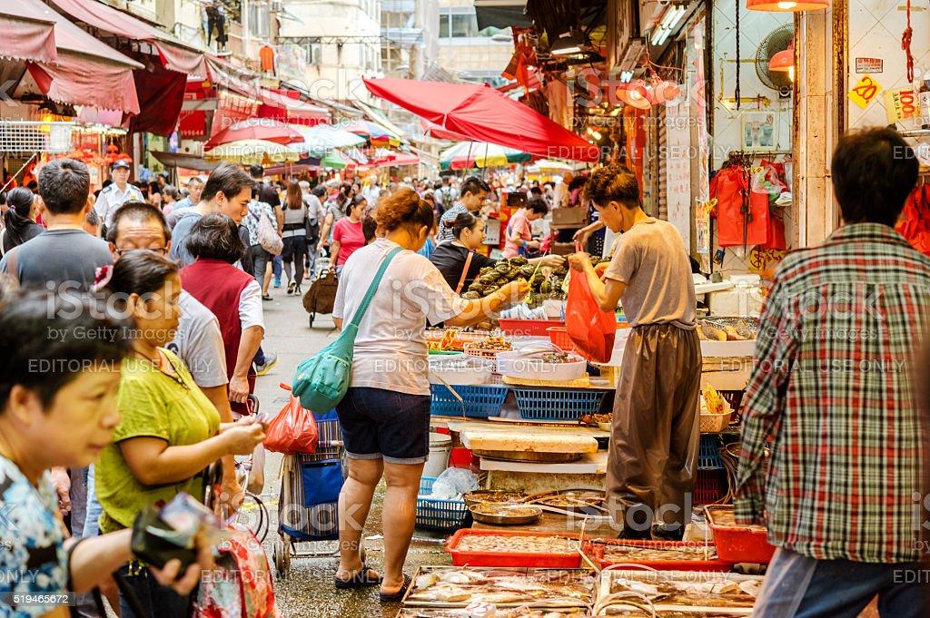 Fresh Fish For Sale at Market  in Hong Kong, China stock photo