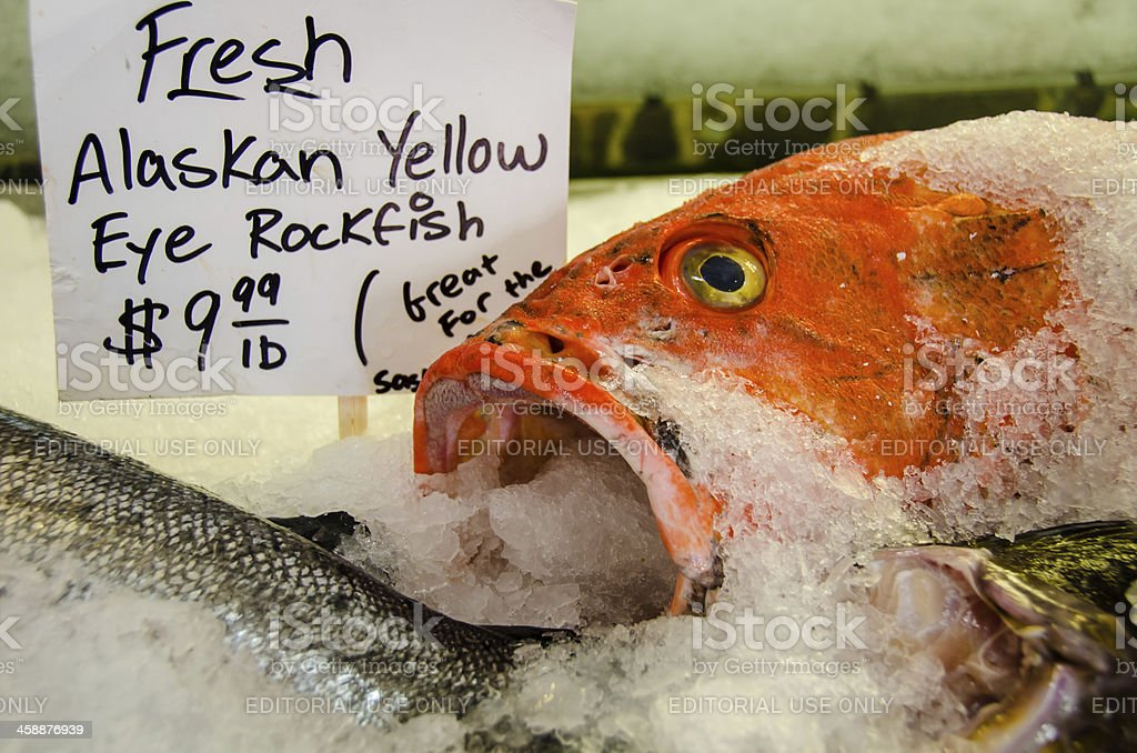 Fresh fish for sale at Pike Place Market royalty-free stock photo