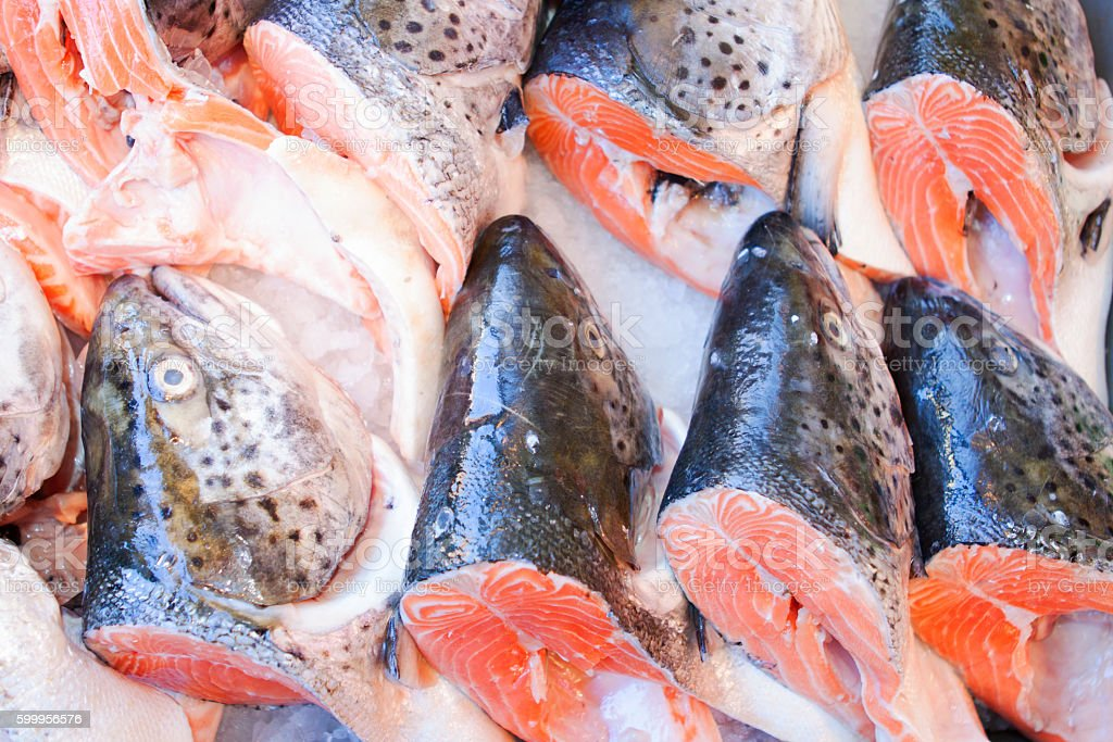 Fresh fish for sale at the seafood market. stock photo